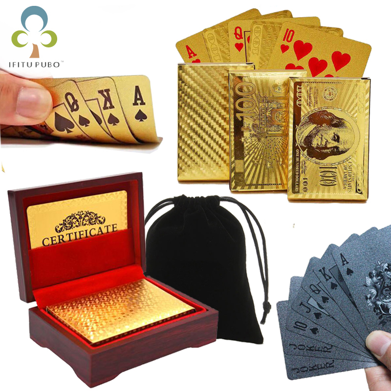 Gold Black Foil Poker Euros Dollar Style Plastic Poker Playing Cards Waterproof Cards Good Price Gambling Board game GYH euro us dollars style waterproof plastic playing cards gold foil poker golden poker cards 24k plated poker table games