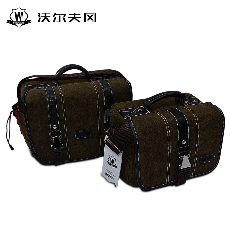 Wolfgang Canvas Vintage DSLR SLR Camera Shoulder Bag Men's Vintage Canvas Leather Military Messenger Bag for Canon 5D3 For Nikon national geographic leather travel camera bag soft photography bag shoulder messenger bag for canon nikon digital slr laptop
