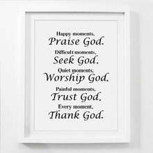 Abstract Canvas Painting Bible Verse Quote Home Decor Posters and Prints Every Moment Thank God Religion Wall Picture Unframed