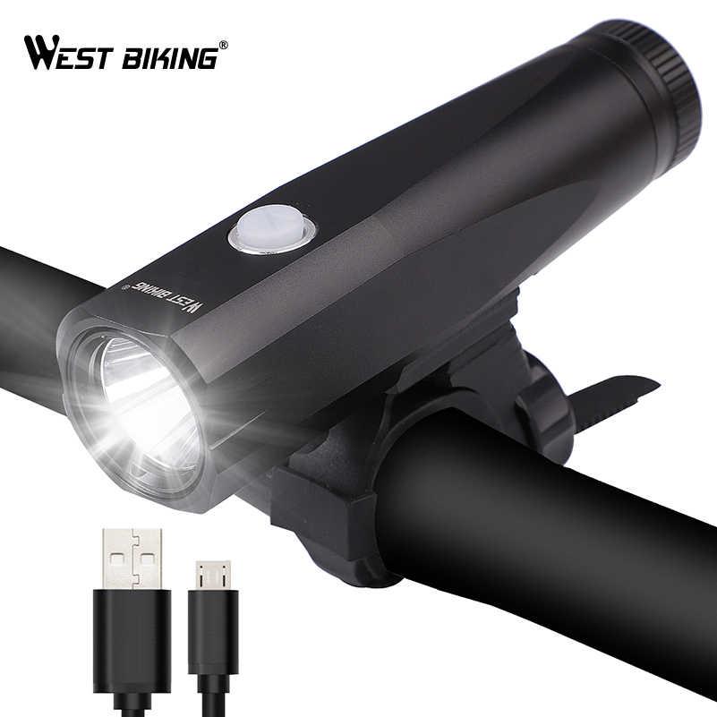 WEST BIKING IP-65Waterproof передние велосипедные фары USB зарядка велосипедная фара T6 бусина велосипедная лампа ночного MTB дорожные велосипедные фонари