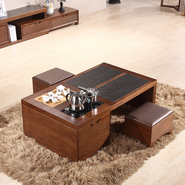Teaside Chinese Fire Stone Tea Table Simple Living Room Coffee Combination With A Multifunctional Storage Stool