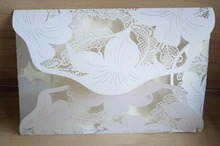 50X FREE SHIPPING White Tiffany Red Pink butterfly Flower gatefold Wedding Invitation Card