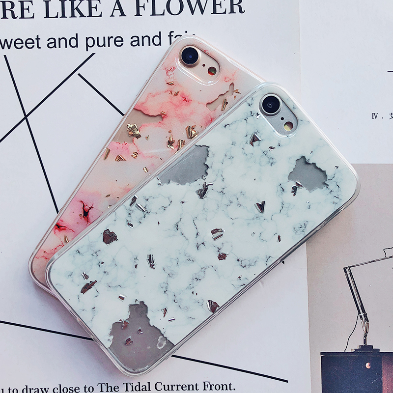 Luxury Gold Foil Bling Marble Phone Cases For iPhone X 10 Cover Hole Soft TPU Cover For iPhone 7 8 6 6s Plus Glitter Case Coque (25)