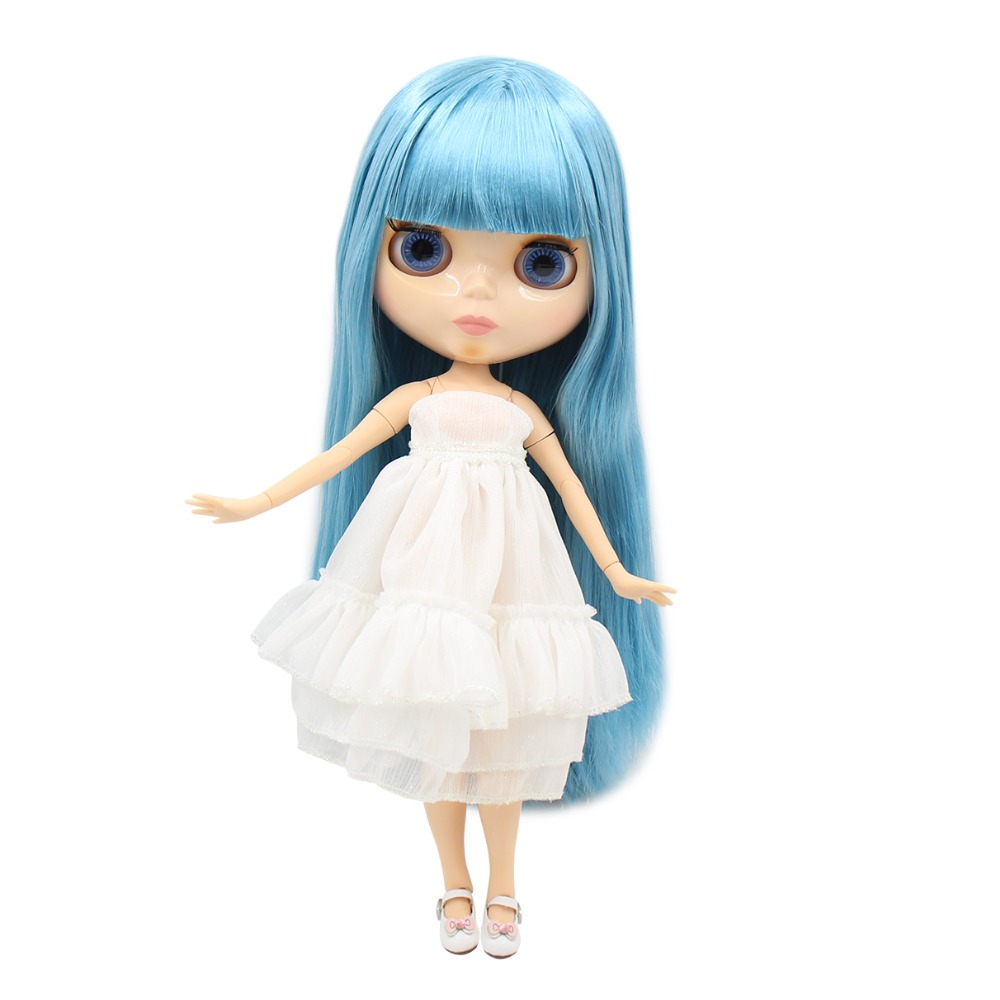 Blyth 1 6 Nude Doll Normal Body Long Sky Blue Straight Hair 4 Colors For Eyes