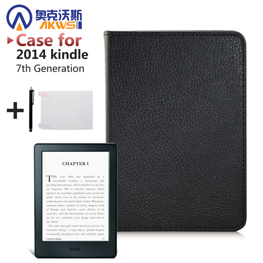 PU leather cover case for Amazon New Kindle Touch 7th Generation 2014 + screen protector + stylus pen