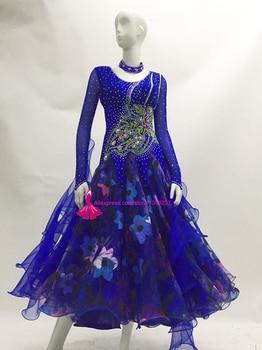 Standard Ballroom Dance Competition Dresses Ladys High Quality Custom Made Royal Blue Stage Tango Waltz Dancing Dress