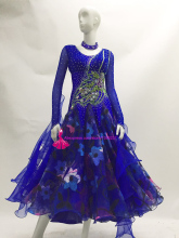 Standard Ballroom Dance Competition Dresses Lady's High Quality Custom Made Royal Blue Stage Tango Waltz Dancing Dress