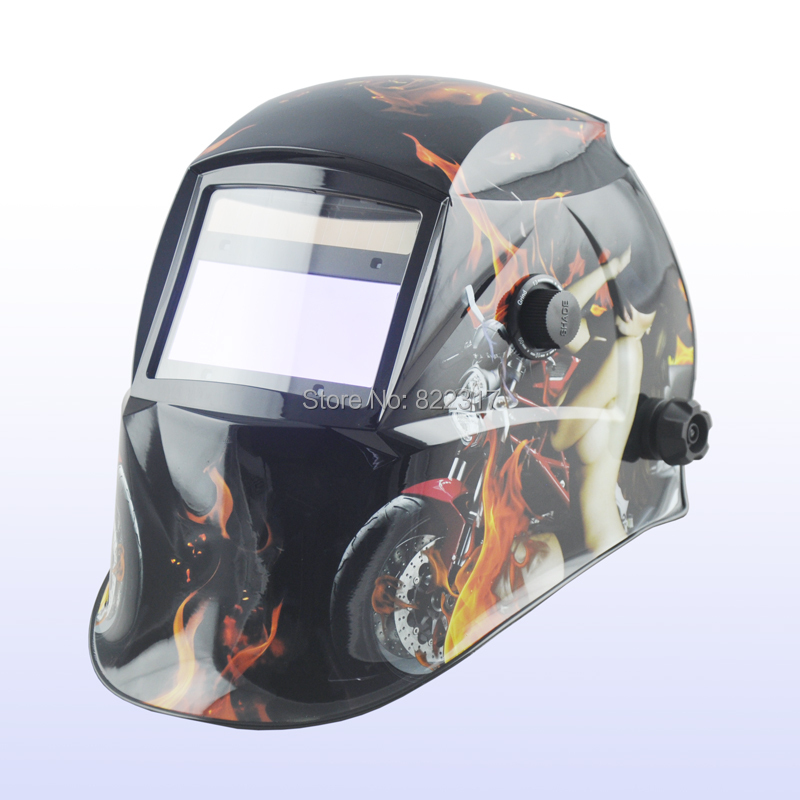 Auto darkening welding helmet/welding mask/MIG MAG TIG(Yoga-718G SPORTS GIRL Flame)/4 arc sensor din7 din12 shading area solar auto darkening welding helmet protection face mask welder cap for zx7 tig mig welding machine