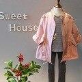 Осень зима новорожденных девочек куртка заклепки алмаз детская одежда Ветровка свободный стиль детская одежда для девочек розовые наряды носить
