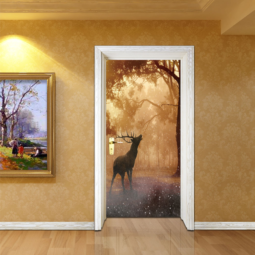 Image 4 - Giraffe Shark Deer Dinosaur Animal Creative Door Wall Sticker Waterproof Wall Paper DIY Poster Self adhesive Home Decor-in Wall Stickers from Home & Garden