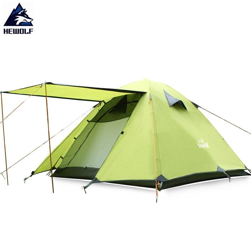 Hewolf открытый 3 4 человек палатки двойной Слои Алюминий полюс супер сильный непромокаемые Рыбалка Охота Приключения Кемпинг Hikinfg палатка
