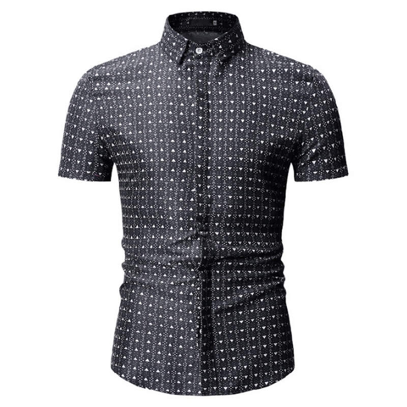 2019 Summer New Men Shirt Fashion Plaid Printing Male Casual Short Sleeve Shirt Large Size Brand Men's Clothing Men Shirt 3xl
