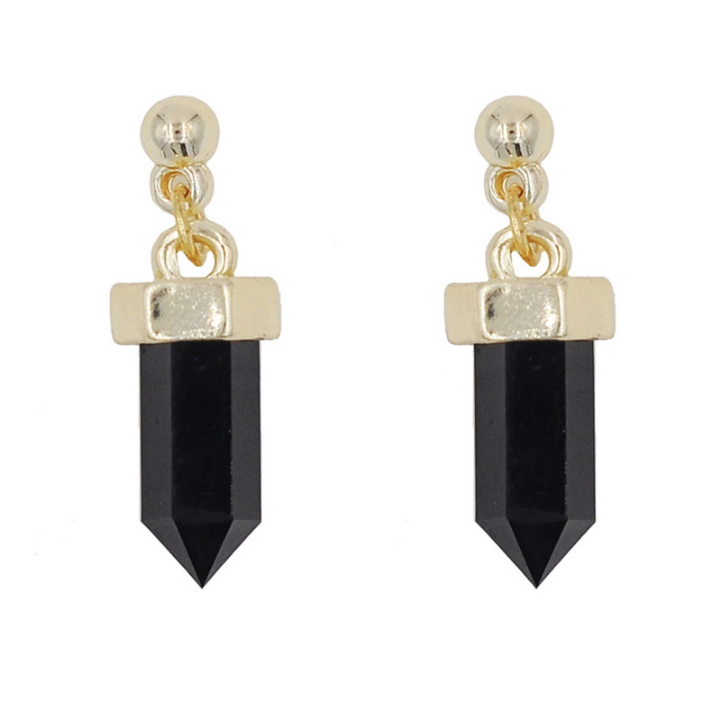 2017 New Trendy European Style Black/White Color Stud Earrings For Woman Crystal Columns Small Women Earrings Fashion Jewelry
