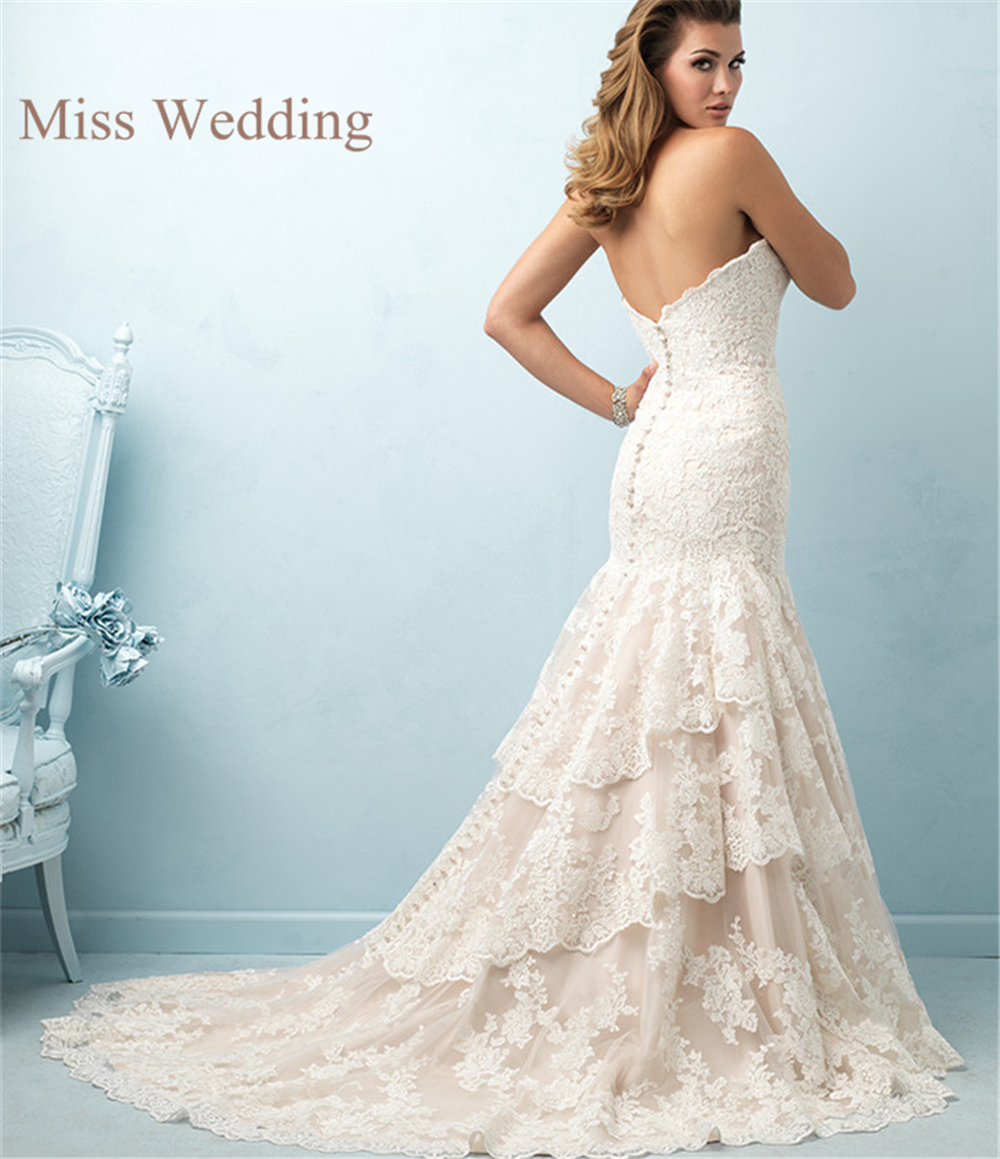 New Arrival Elegant Strapless Customized Lace Wedding Dress ...