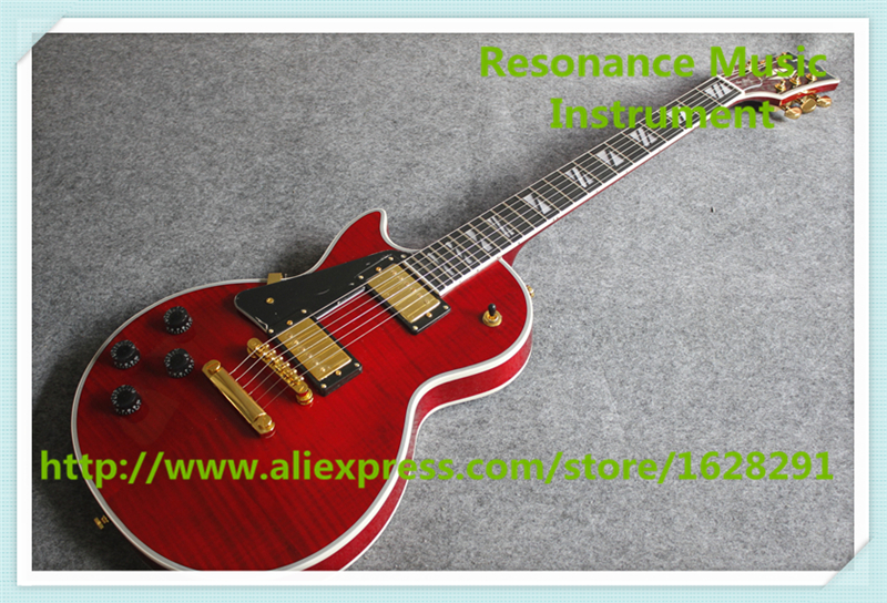 New Arrival Red Tiger Finish Left Handed LP Custom Guitars Electric Mahogany Solid Guitar Body For Sale new arrival lp standard electric guitar left hand red sunburst with yellow binding