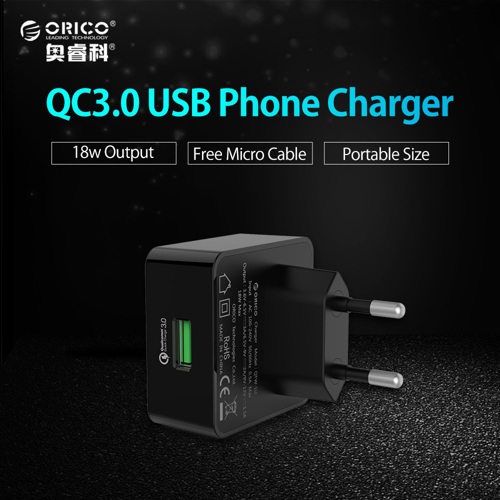 ORICO 1 Port QC3 0 USB Quick Charger Wall Charger with 1m Free Micro USB Cable