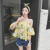 2017 קוריאני חולצת קיץ סקסי שיפון לפרוע למעלה חולצות handsel בגימור פרחוני כבוי נשים כתף נשי בוהמה בתוספת גודל