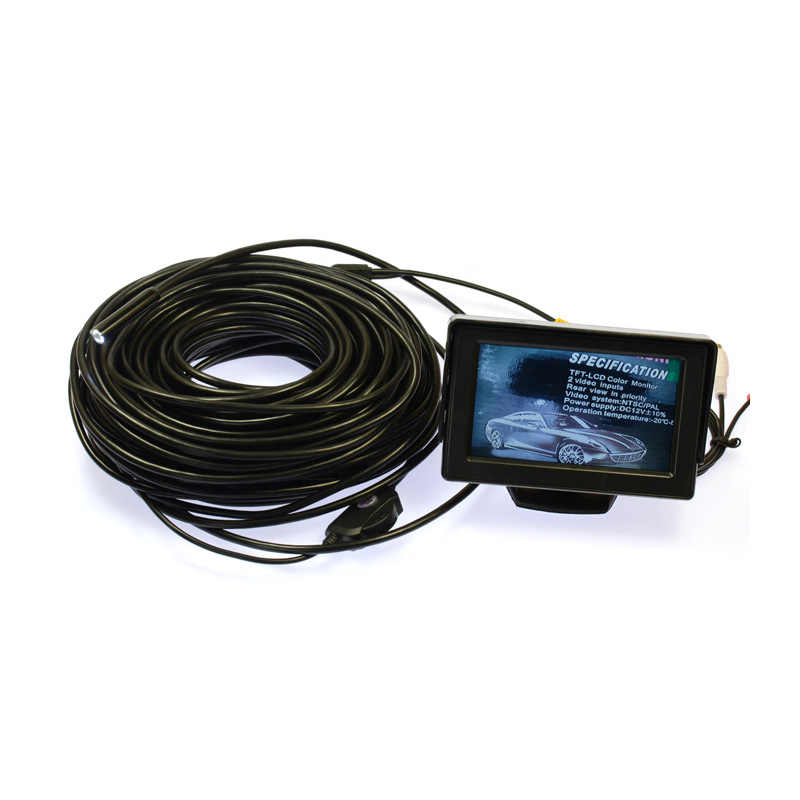 "30M AV Endoscope Camera Waterproof 9mm Head with 6 LED light Adjustable Near Focus Wired Camera Flexible+4.3"" TFT LCD Monitor"