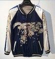Новый ветер летит атласная вышитые куртка женская бейсбол равномерное пары пальто