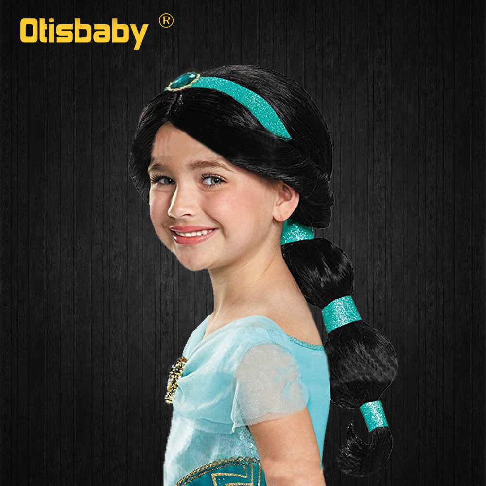 Aladdin's Lamp Halloween Girls Princess Jasmine Hair Black Long Wig Fancy Kids Rapunzel Wig Disguise Child Cosplay Unicorn Wig