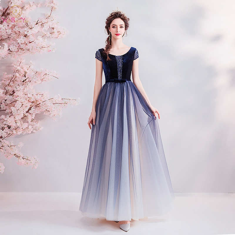 Dark Blue Prom Dresses 2019 Tulle Velvet Short Sleeves Bow Beading Crystal A-line Contrast Color Long Floor Length Evening Gown