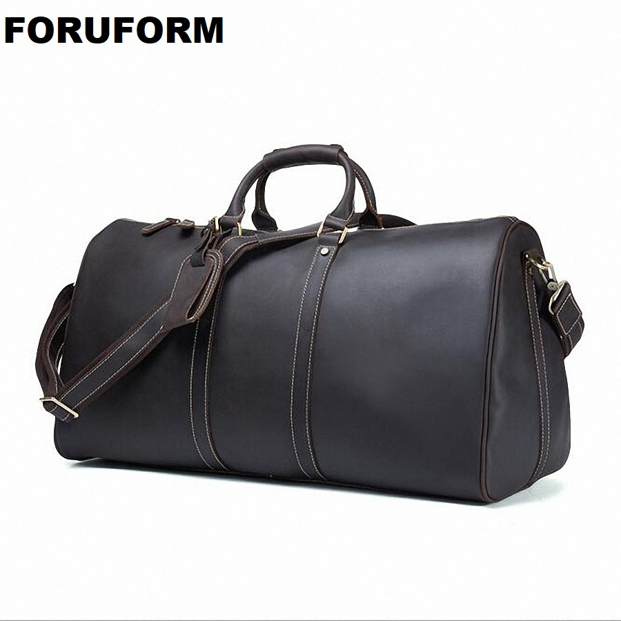 Mens Big Capacity Genuine Leather Travel Bag Durable Crazy Horse Leather Travel Duffle Real Leather Shoulder Boston Bag LI-1775
