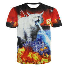 New Arrival Men And Women T Shirt 3D Printed Creative Fire-Breathing Cat Invasion Spoof Funny Short-Sleeved T-Shirt Summer Style