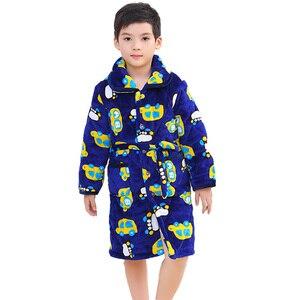 Зимняя детская ночная рубашка с подкладкой, теплая Пижама для девочек, фланелевый банный халат для маленьких мальчиков и девочек, детская п...