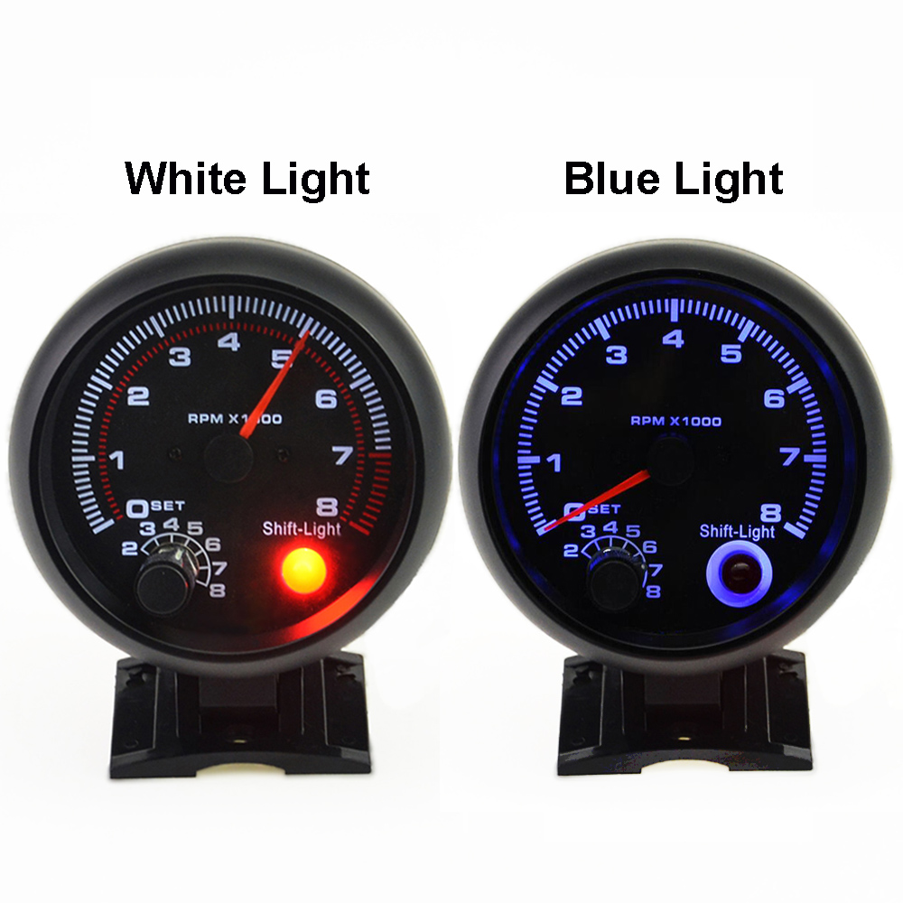 3.75 Inch 95mm Tacho Gauge 0 8000 RPM for 12V Petrol Car Gauges White / Blue Light Auto Tachometer Meter with Warning