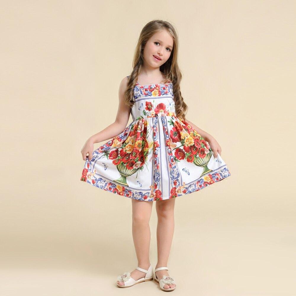 Printemps été enfants vêtements maman filles vase imprimer famille correspondant vêtements parental fille plage robe mère et fille robe