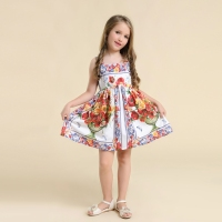 Spring Summer children clothing mom girls vase print family matching clothes parental girl beach dress mother and daughter dress