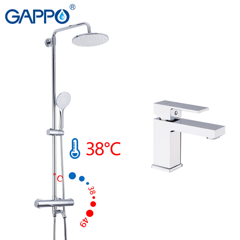 Gappo AUTO-THERMOSTat cascade bain douche robinets avec salle de bain bassin robinet maison mélangeurs chrome robinet de douche