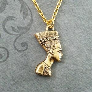 New Eqyptian Pharaoh Charm Nefertiti Necklace Great Royal Wife Pharaoh Akhenaten Egyptian Theme Alloy Material Pendant Necklace(China)