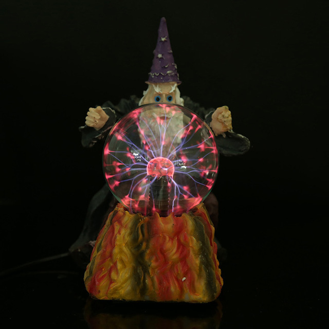 2015 halloween witch design resin lamp plasma ball static ball magic night ball multi color water