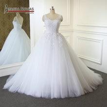 간단한 a 라인 소프트 tull 레이스 웨딩 드레스 2019