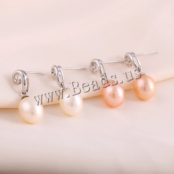 Freshwater Pearl Earrings Lovely with Sterling Silver mixed colors 8-9mm 2Pairs/Bag