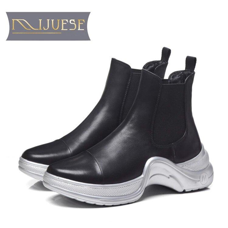 MLJUESE 2018 women ankle boots cow leather black color vintage Chelsea boots winter short plush women