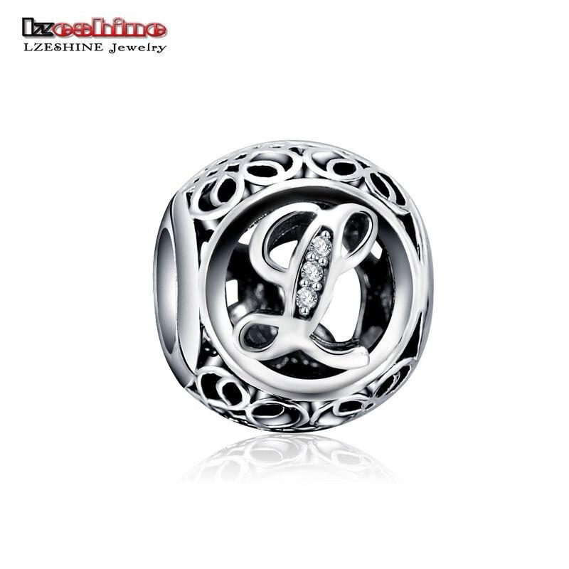 LZESHINE 100% Authentic Sterling Silver 925 Crystal Alphabet Letter A-Z Bead Charm Fit Original Pandora Charm Bracelet PSMB0634 13