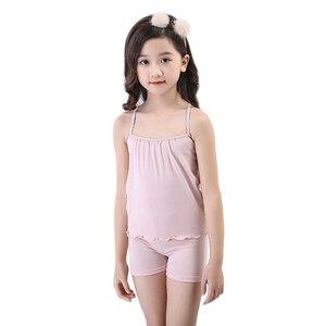 Image 4 - Pijamas infantis para meninas pijamas algodão verão pijamas crianças colete shorts 2 pçs terno 3 4 5 6 7 8 9 10 11 12 anos menina