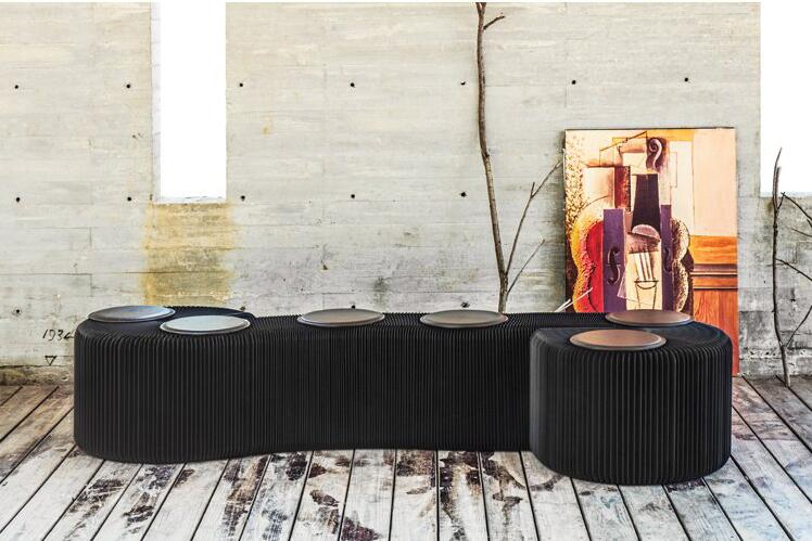 Modern Stool Folding Bench-Fashion Paper Design <font><b>with</b></font> 6 Leather Pads Long Seat Bench For Patio&Home Decor Portable Stool <font><b>Chair</b></font>
