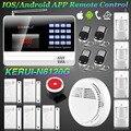 Alarma casera KERUI-N6120G IOS Android APP Controlado Wireless/wired GSM Sistemas de Alarma de humo Para Inteligente Antirrobo Seguridad