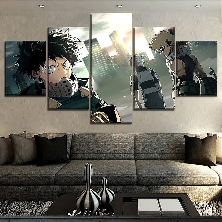 Canvas Paintings Wall Art Framework 5 Pieces Animation My Hero Academia Role Poster HD Prints Pictures Living Room Decorative
