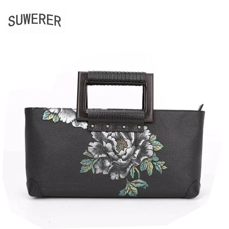 SUWERER 2018 New women genuine leather bag famous brands Embossing flower fashion top cowhide art bag women leather handbags 2016 new women genuine leather bag fashion chinese style top quality cowhide embossing women leather handbags shoulder bag