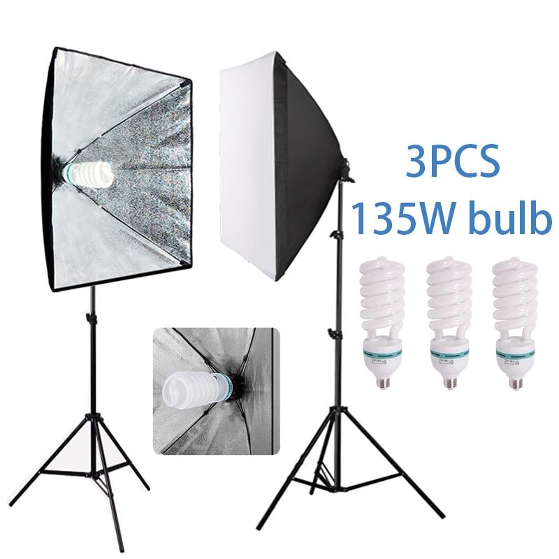 Photo studio 3PCS 135W Bulb softbox kit 5500K photography lighting kit camera accessories 2 Light stand
