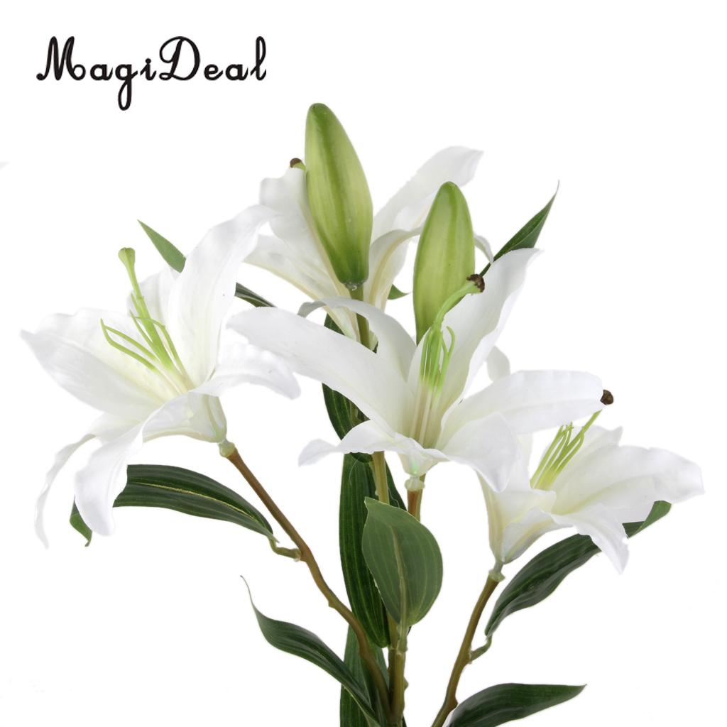 Magideal Beautiful Simulation 6 Head Flowers Lily Artificial Plant
