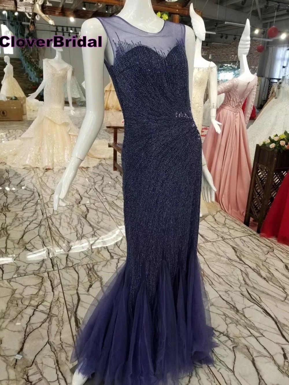 CloverBridal Azul marino sin mangas vaina de lujo vestidos de fiesta largos elegantes de gala Sleeveless Navy blue evening gown