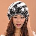 2016 Новый Стиль Зимние Шапки Для Женщин Трикотажные Кролика Меховая Шапка skullies шапочки Шапка женская шапка женская зима теплая шляпы