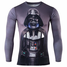 Star Wars Men 3D Print T shirts O-Neck Tops T-Shirts long Sleeve