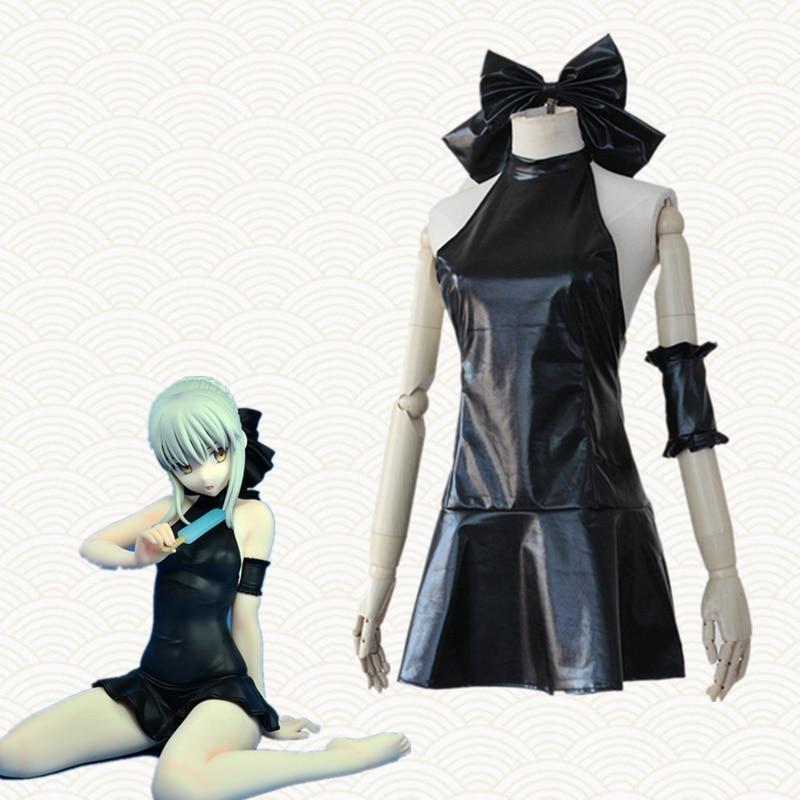 Altria Pendragon косплей костюмы черное платье Купальник японское аниме Fate одежда Маскарад / Марди Гра / Карнавальные костюмы