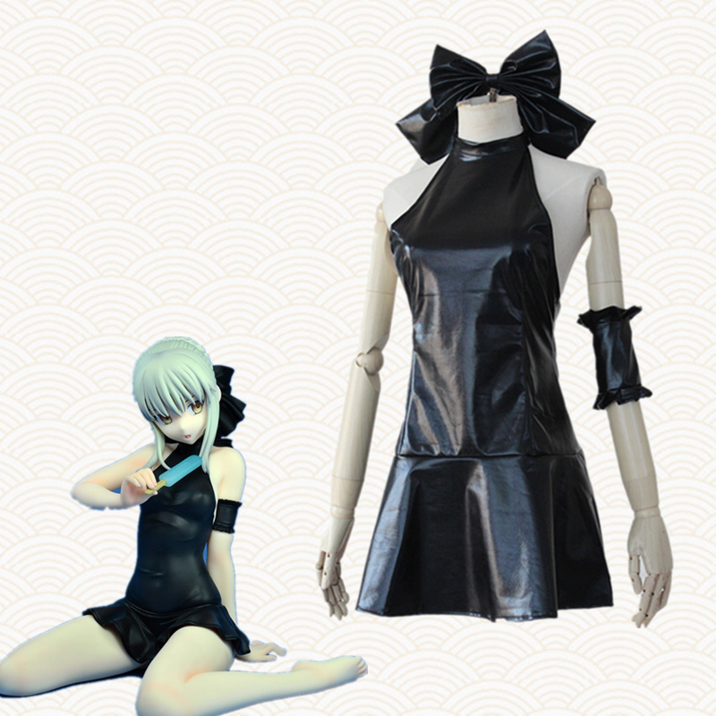 Altria Pendragon cosplay costumes black dress Swimsuit Japanese anime Fate clothing Masquerade/Mardi Gras/Carnival costumes